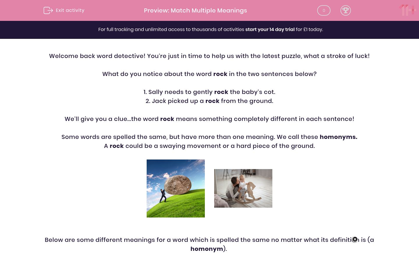 'Match Multiple Meanings' worksheet