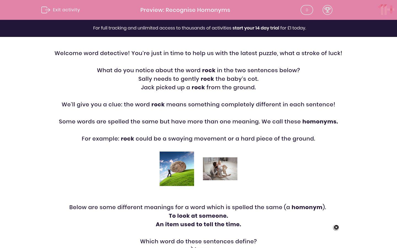 'Recognise Homonyms' worksheet