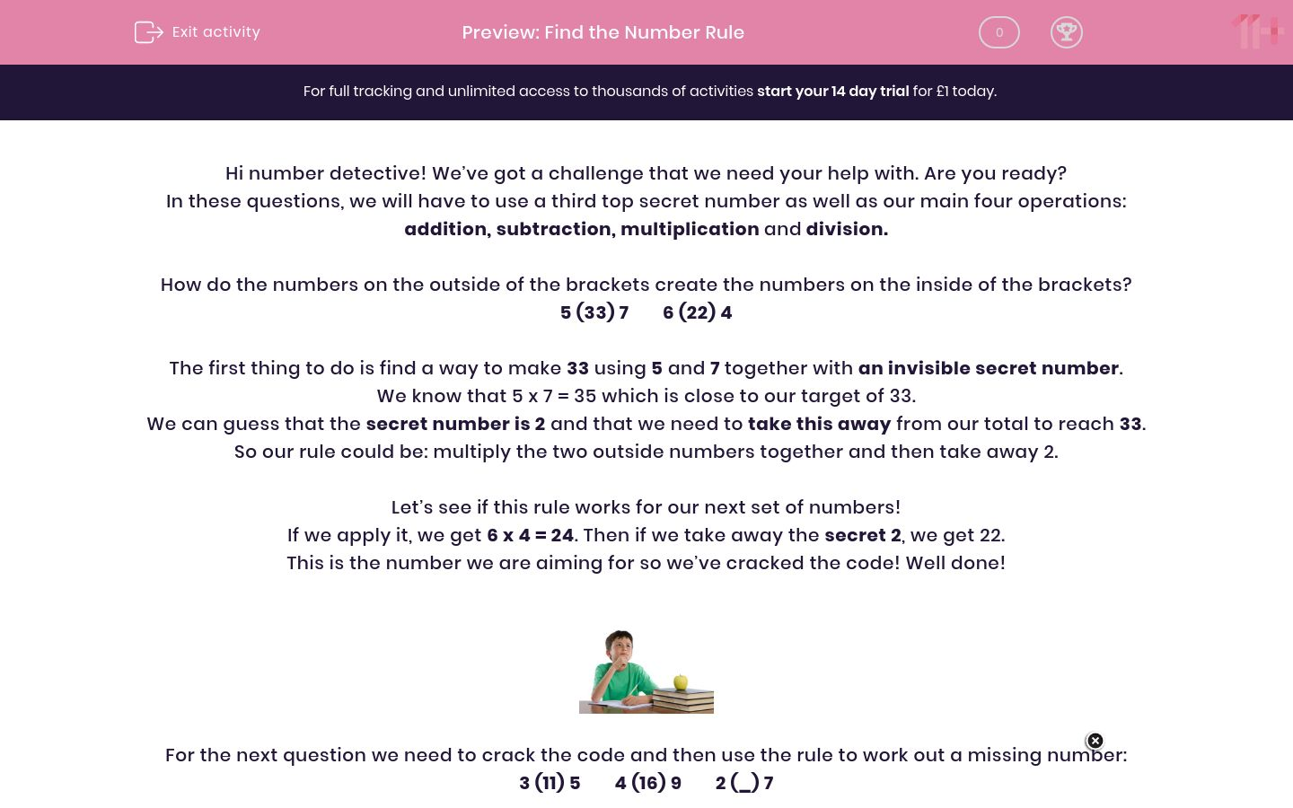 'Find the Number Rule' worksheet
