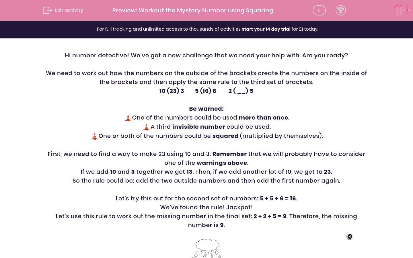 'Workout the Mystery Number using Squaring' worksheet