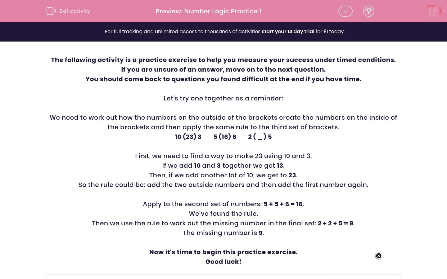 'Number Logic Practice 1' worksheet