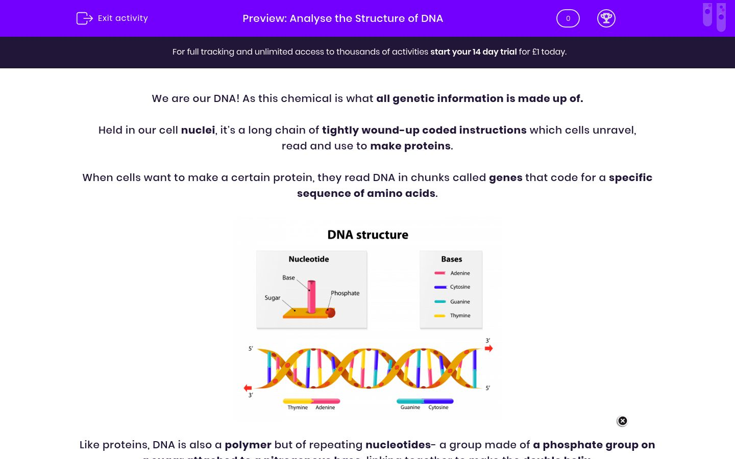 'Analyse the Structure of DNA' worksheet