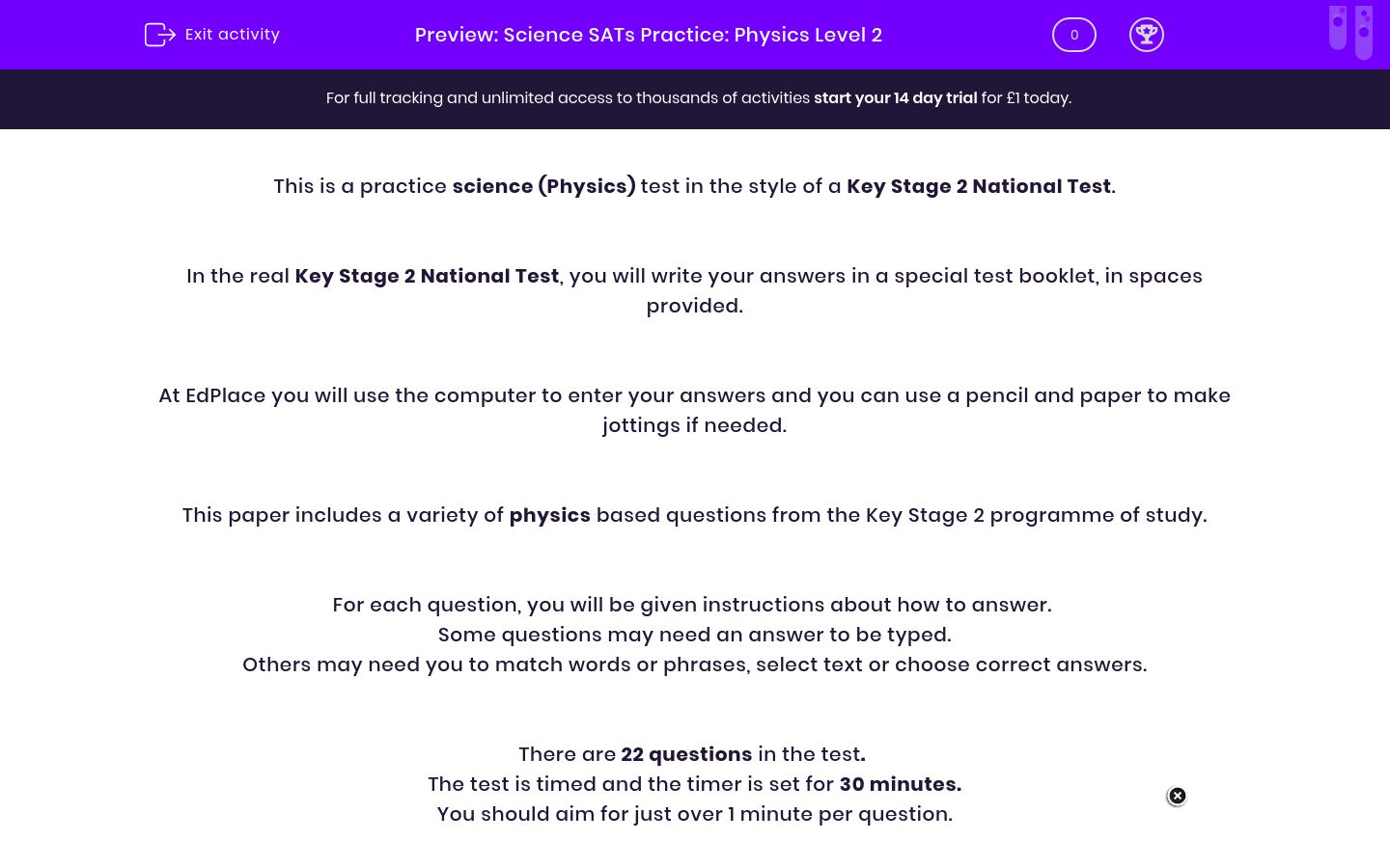 'Science SATs Practice: Physics Level 2' worksheet
