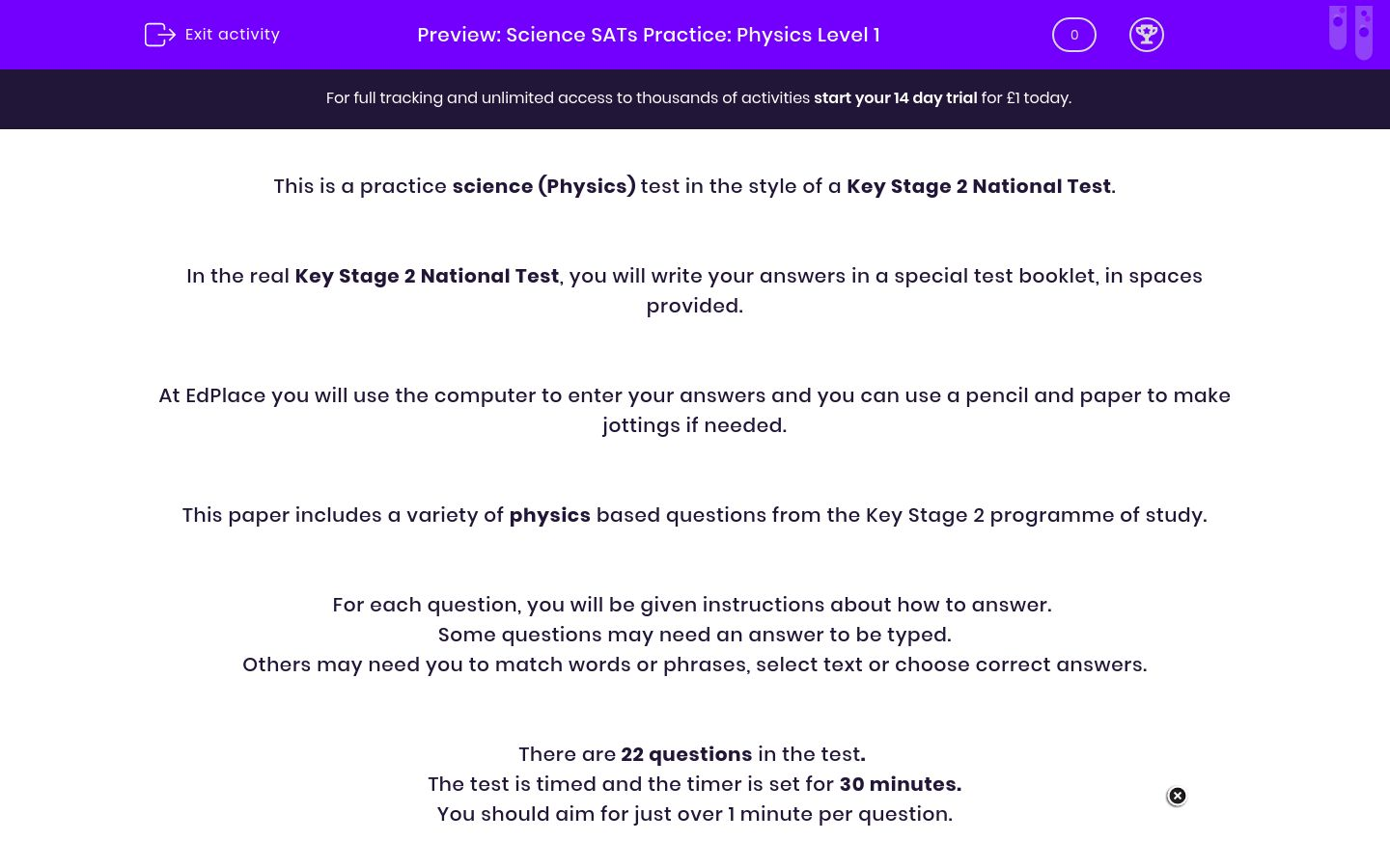 'Science SATs Practice: Physics Level 1' worksheet