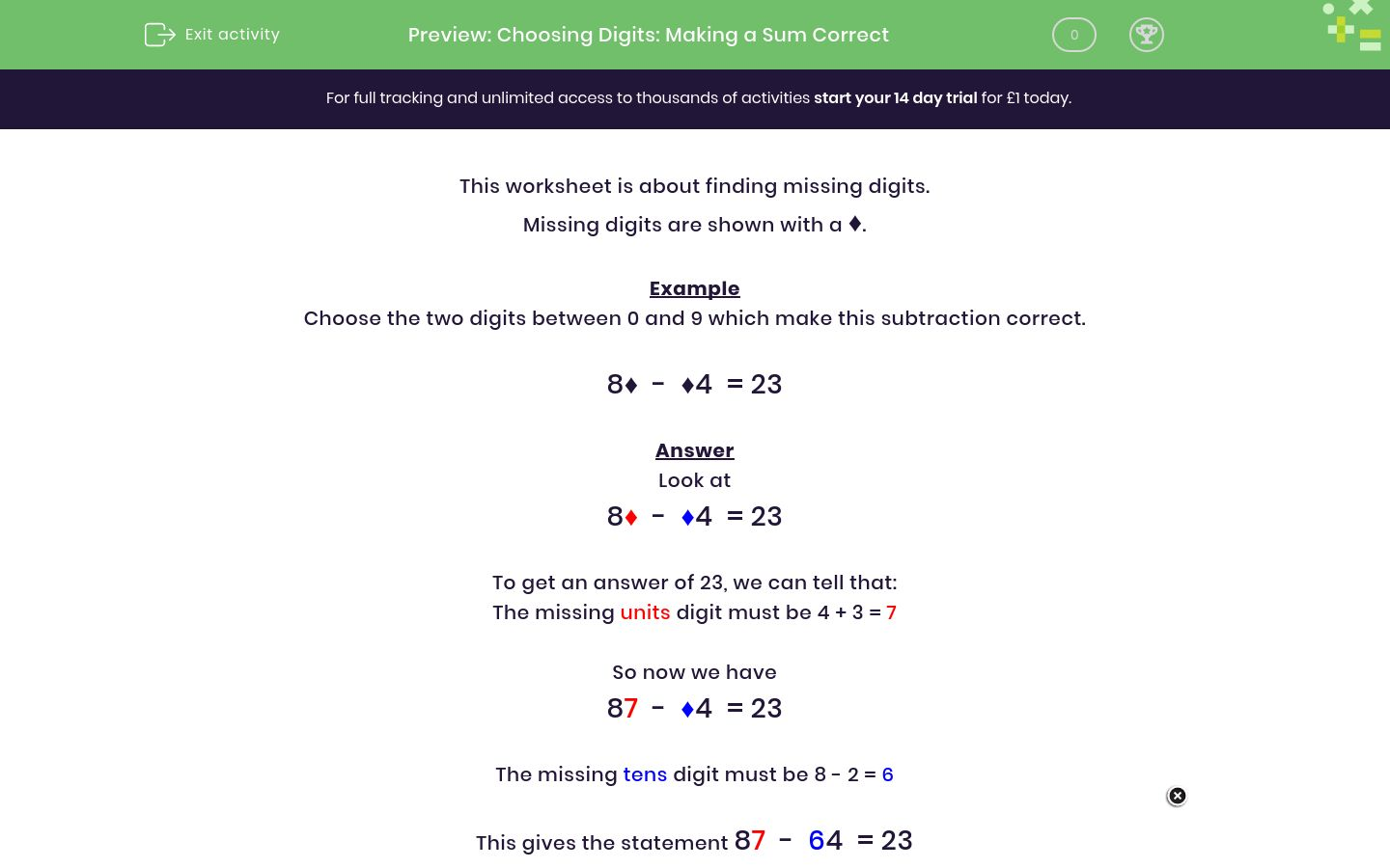 'Choosing Digits: Making a Sum Correct' worksheet