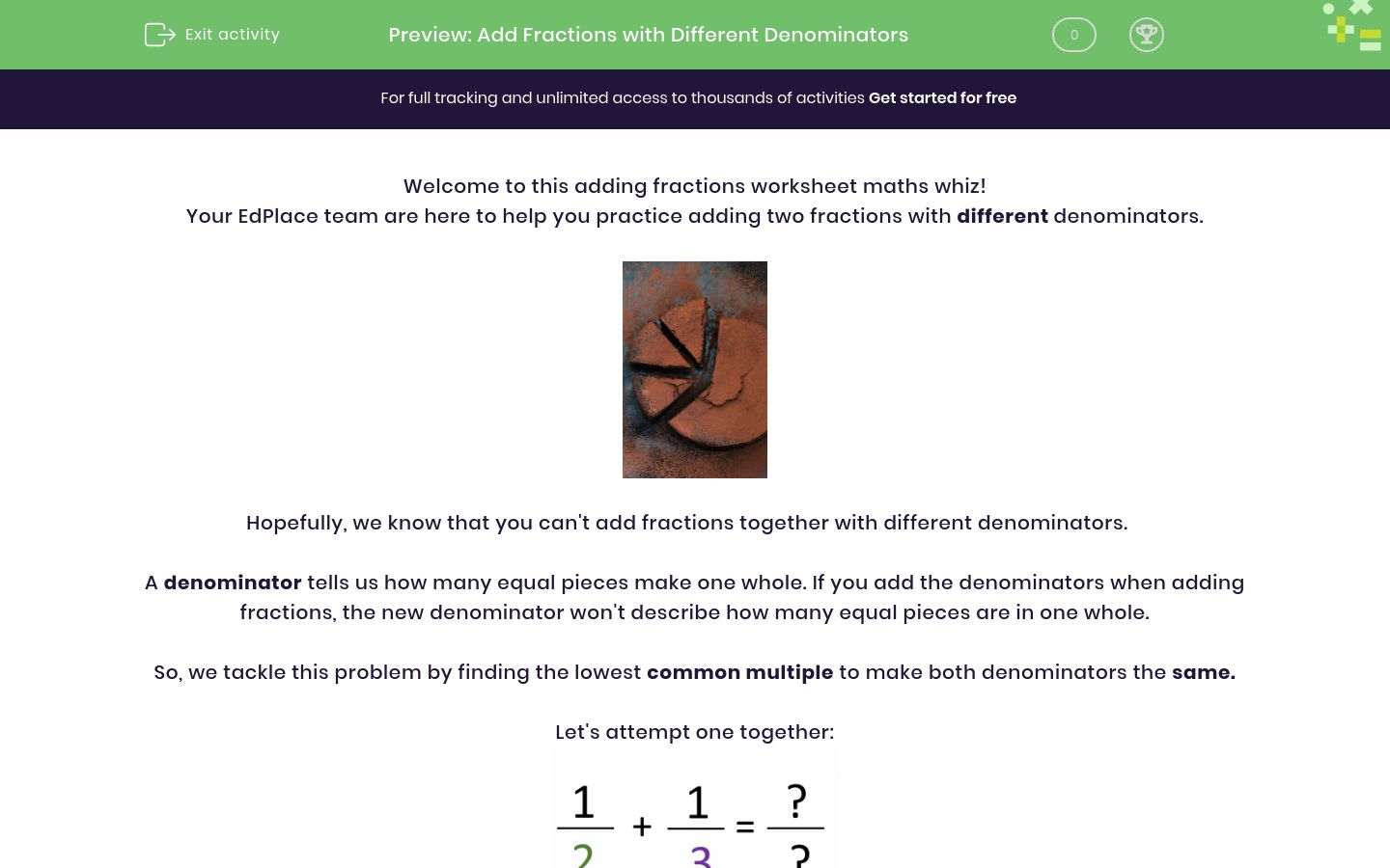 'Add Fractions with Different Denominators' worksheet