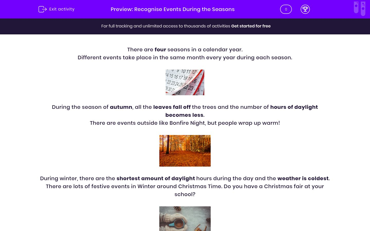'Recognise Events During the Seasons' worksheet