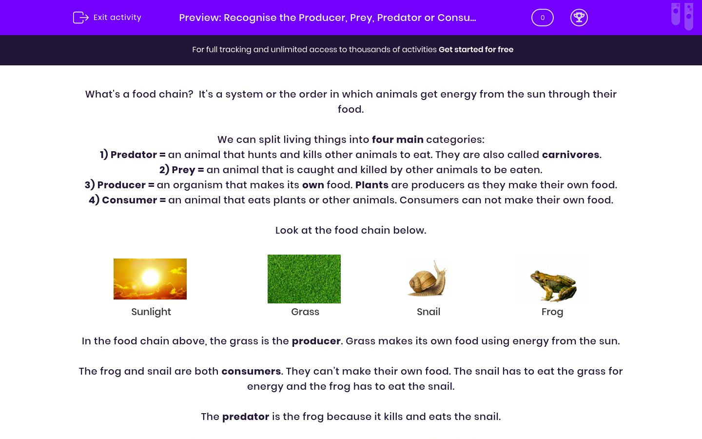 'Recognise the Producer, Prey, Predator or Consumer' worksheet