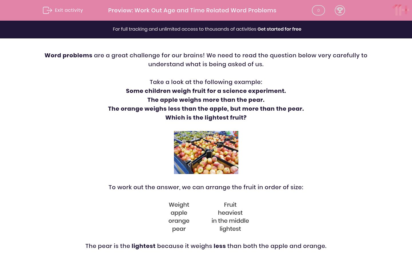 'Work Out Age and Time Related Word Problems' worksheet
