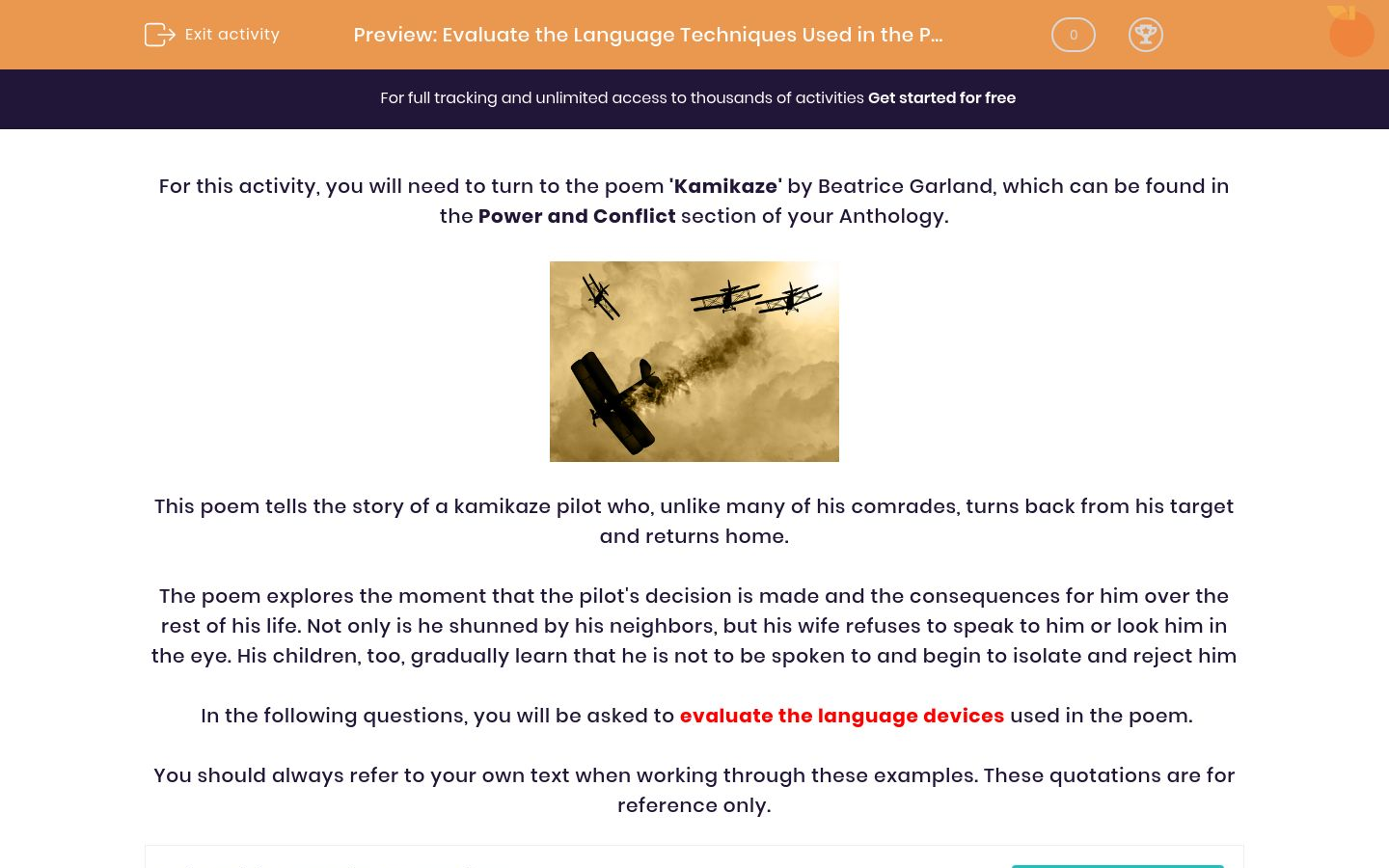'Evaluate the Language Techniques Used in the Poem 'Kamikaze' by Beatrice Garland' worksheet