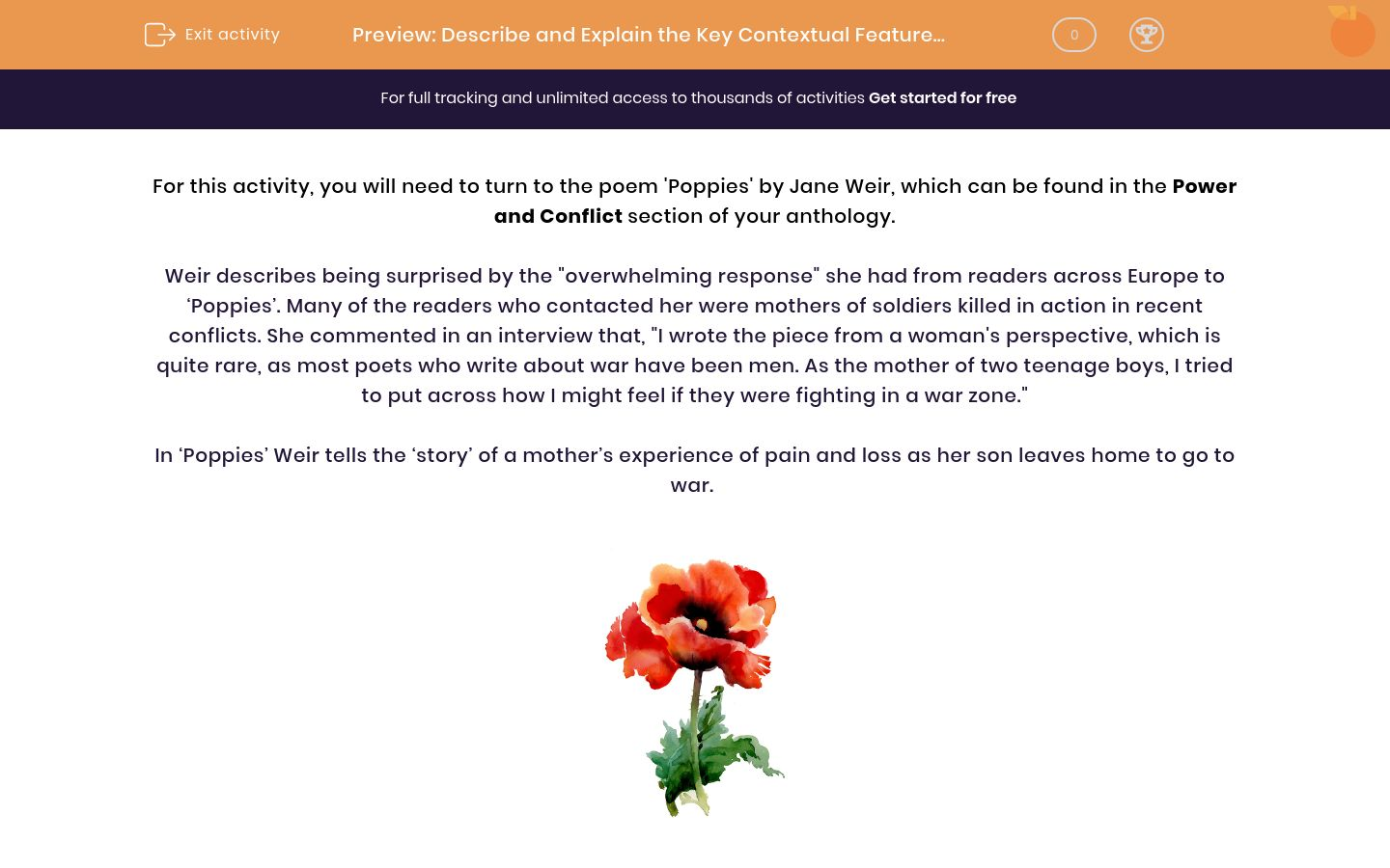 'Describe and Explain the Key Contextual Features of the Poem 'Poppies' by Jane Weir' worksheet