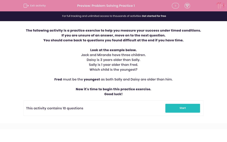'Problem Solving Practice 1' worksheet