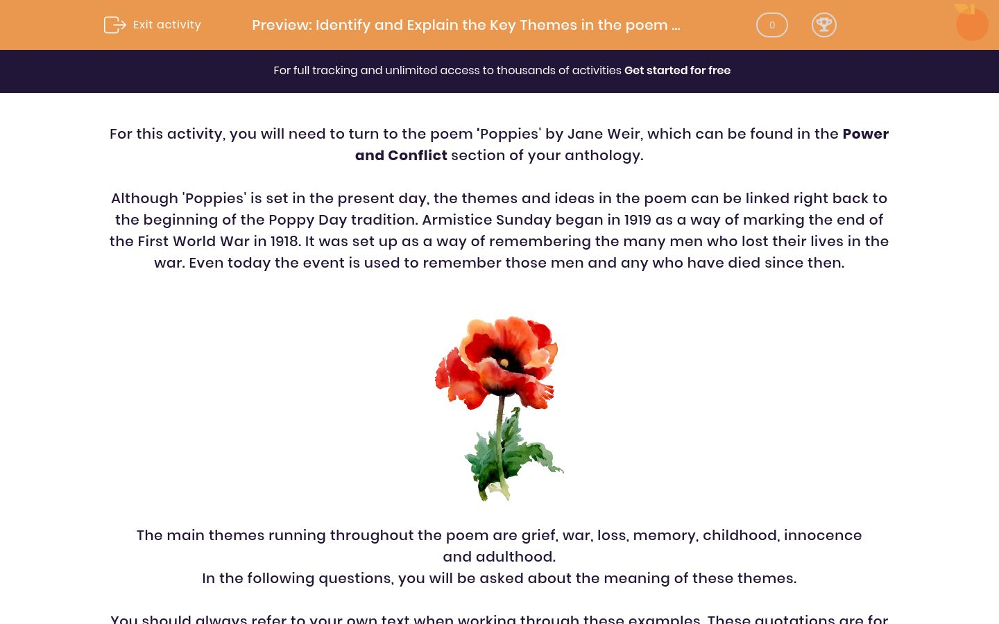 'Identify and Explain the Key Themes in the poem 'Poppies' by Jane Weir' worksheet