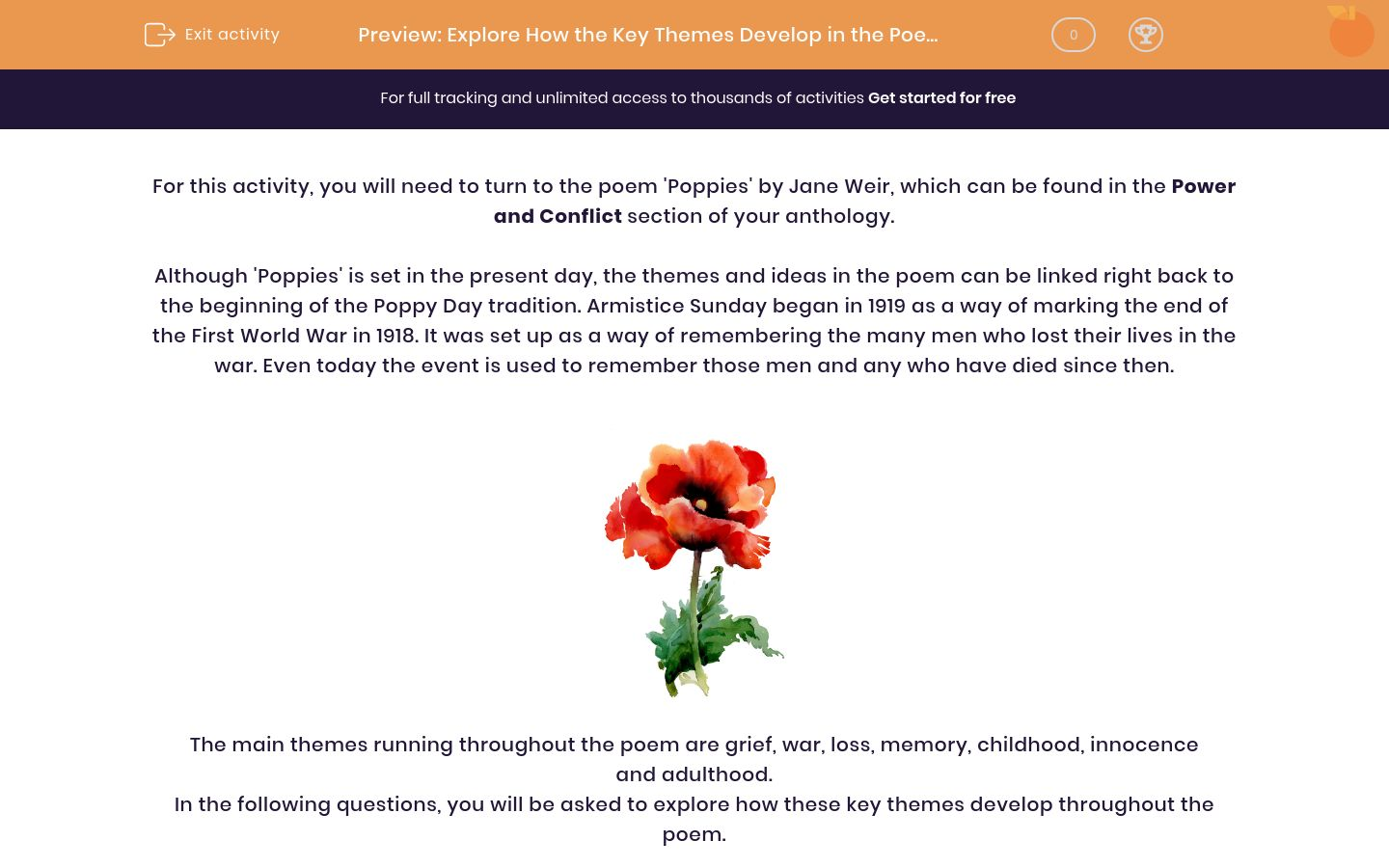 'Explore How the Key Themes Develop in the Poem 'Poppies' by Jane Weir' worksheet