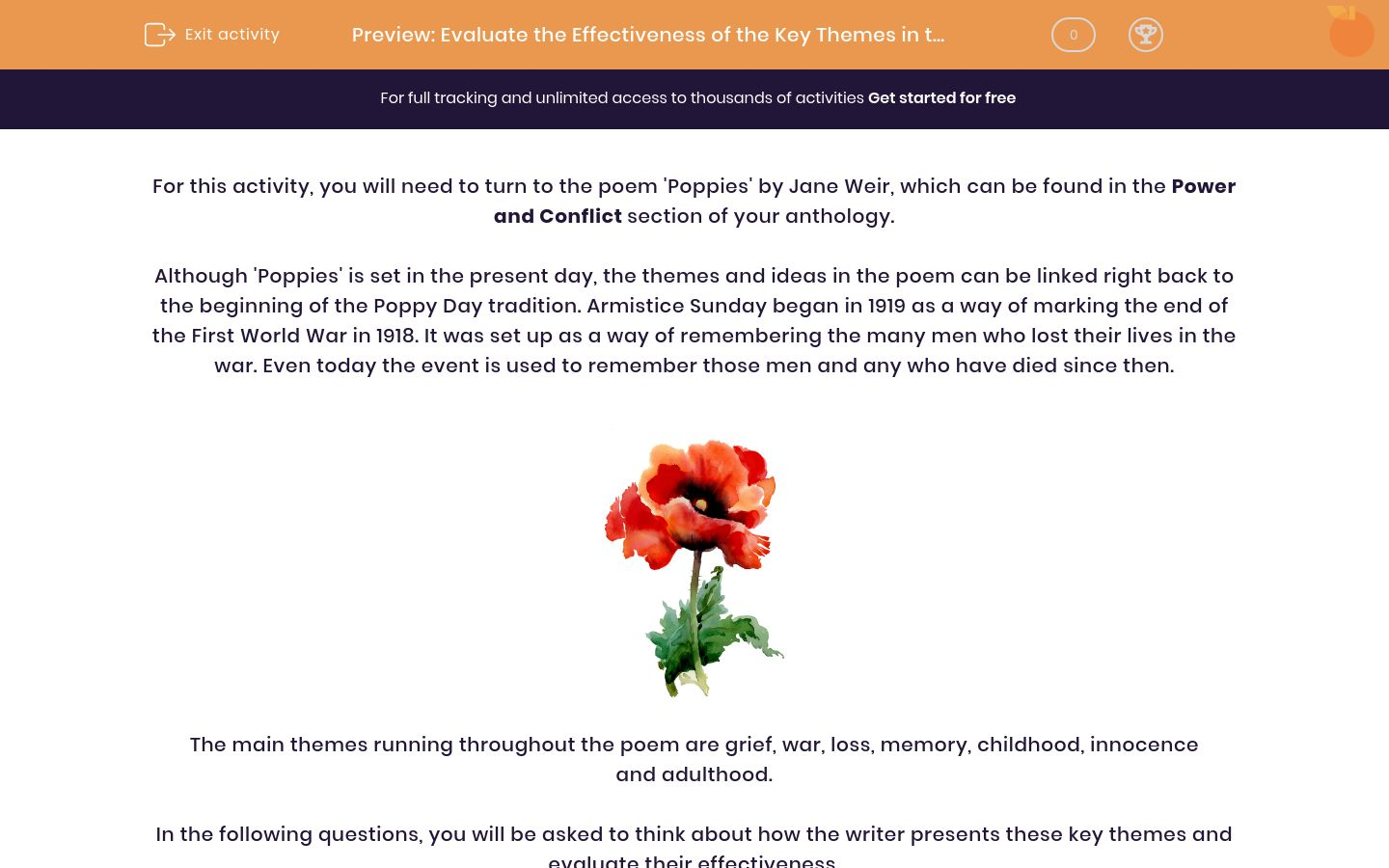 'Evaluate the Effectiveness of the Key Themes in the Poem 'Poppies' by Jane Weir' worksheet