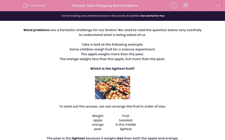 'Solve Shopping Word Problems' worksheet