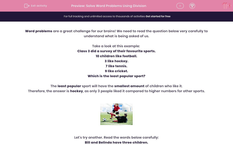 'Solve Word Problems Using Division' worksheet