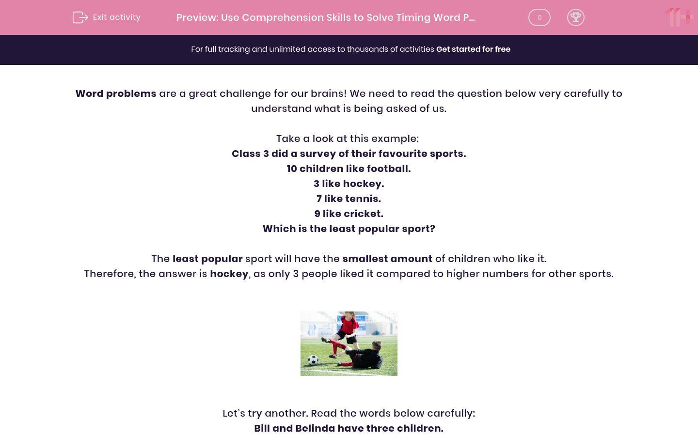 'Use Comprehension Skills to Solve Timing Word Problems' worksheet