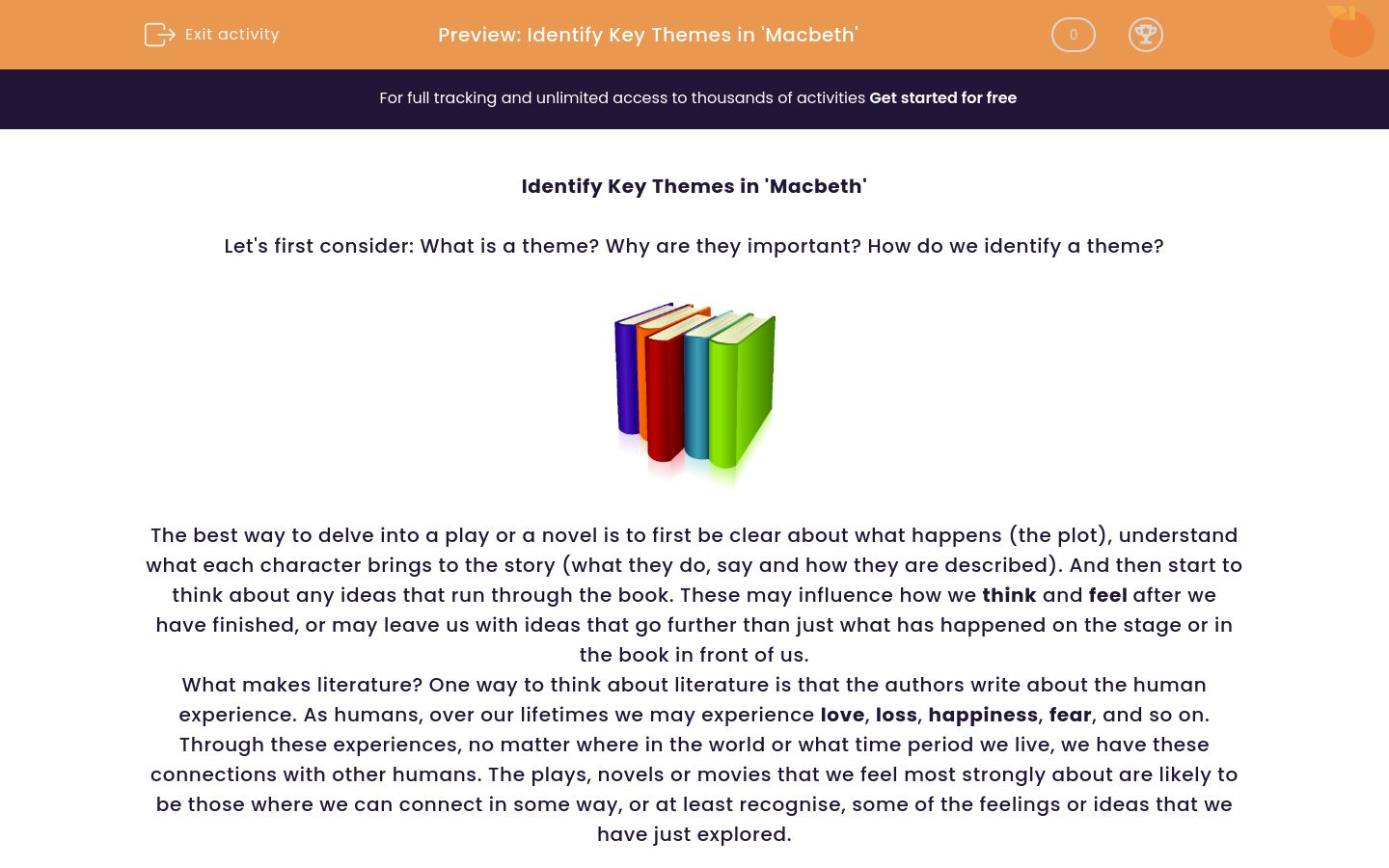 'Identify Key Themes in 'Macbeth'' worksheet