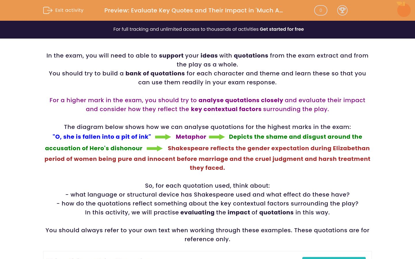 'Evaluate Key Quotes and Their Impact in 'Much Ado About Nothing'' worksheet
