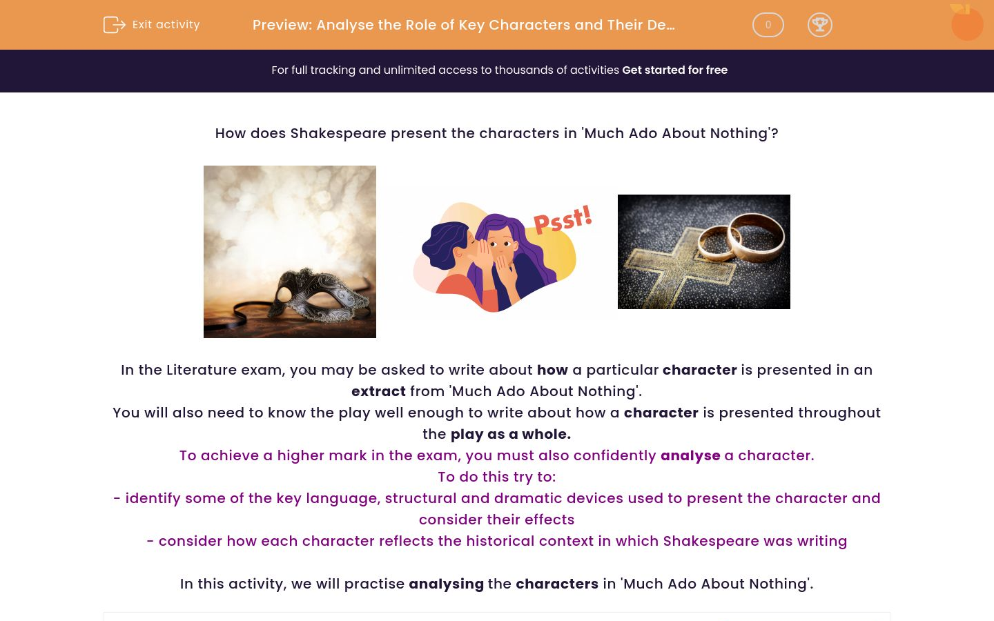'Analyse the Role of Key Characters and Their Development in 'Much Ado About Nothing'' worksheet