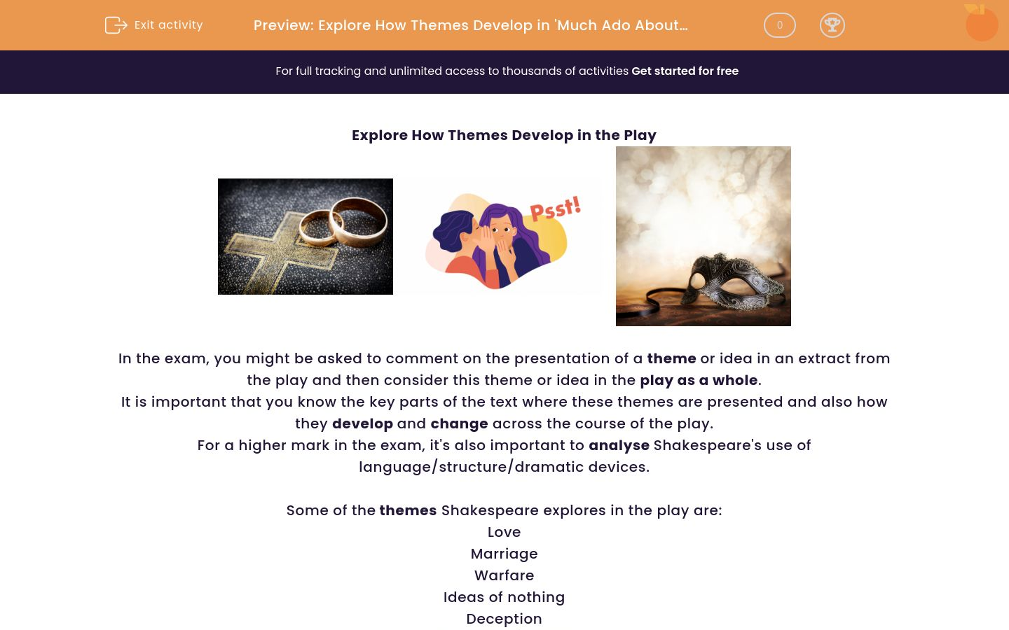 'Explore How Themes Develop in 'Much Ado About Nothing'' worksheet