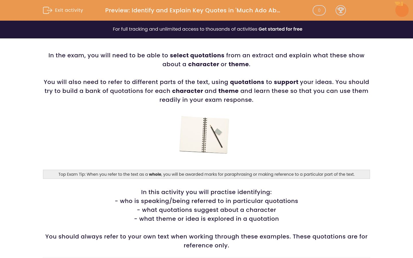 'Identify and Explain Key Quotations in 'Much Ado About Nothing'' worksheet