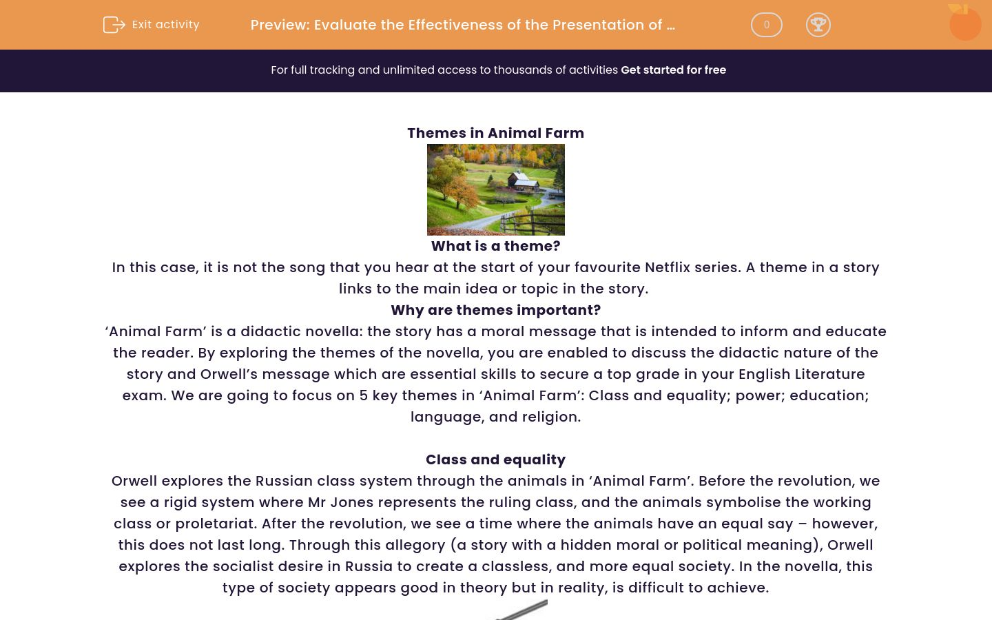 'Evaluate the Effectiveness of the Presentation of Themes in 'Animal Farm'' worksheet
