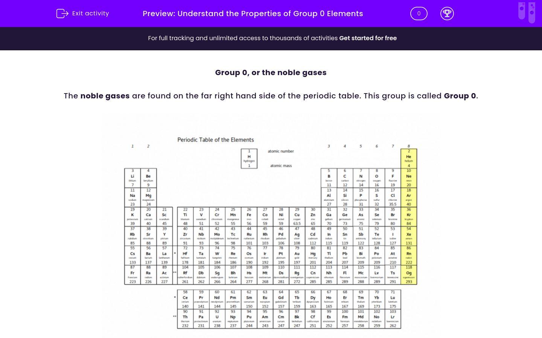 'Understand the Properties of Group 0 Elements ' worksheet