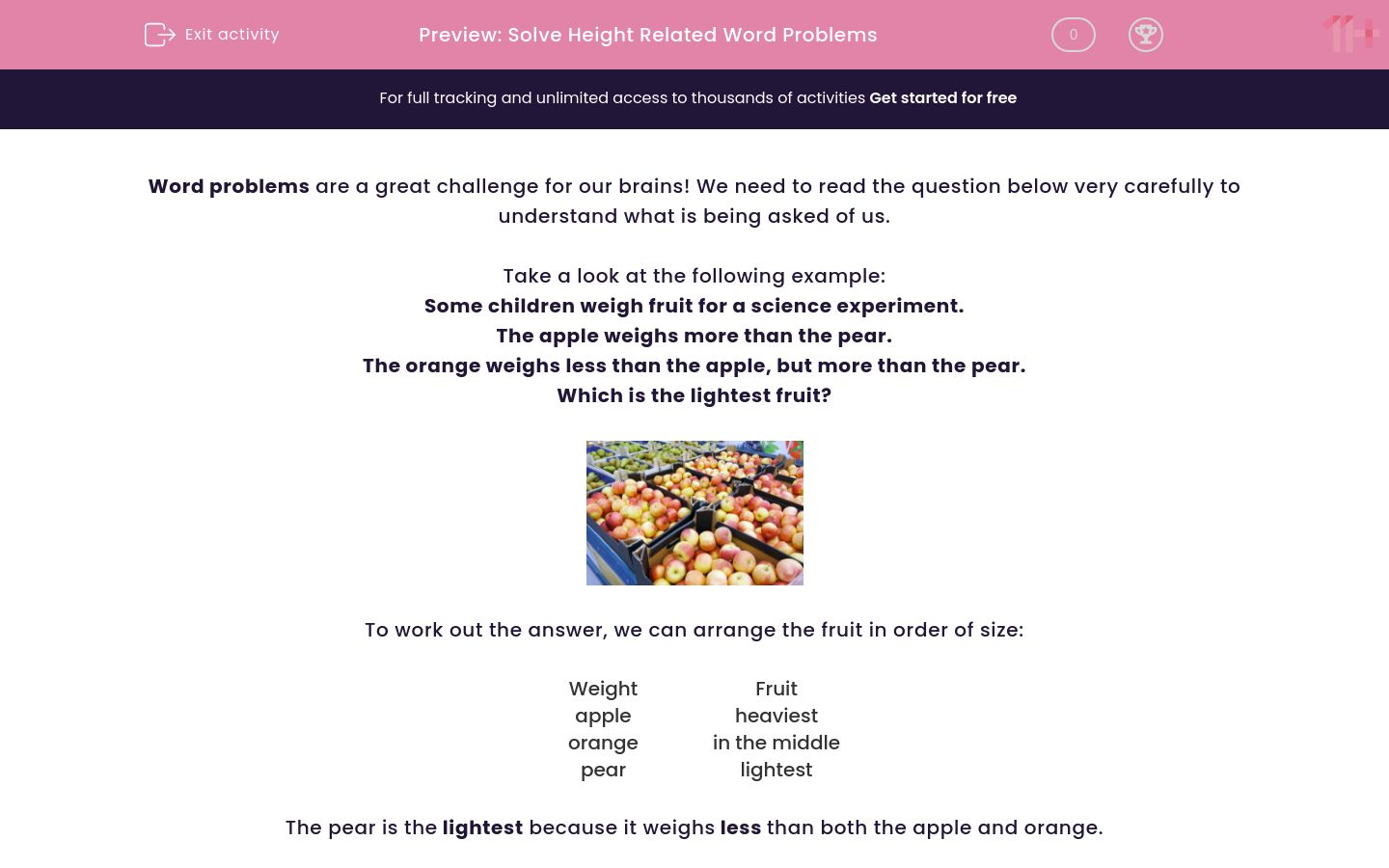 'Solve Height Related Word Problems' worksheet