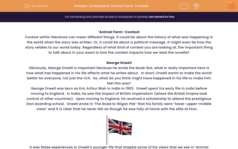 'Understand 'Animal Farm' Context' worksheet