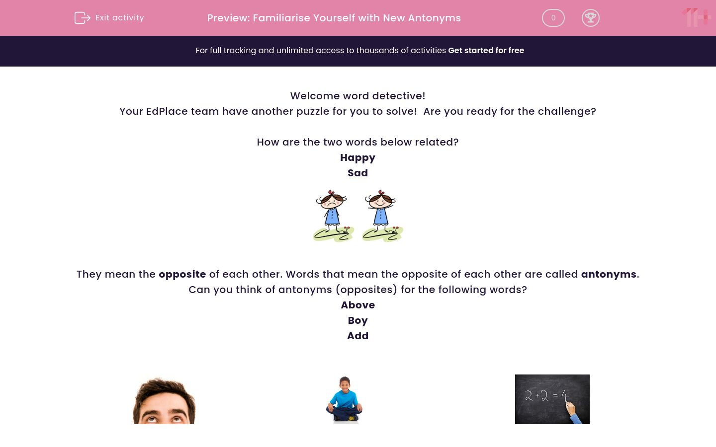 'Familiarise Yourself with New Antonyms' worksheet