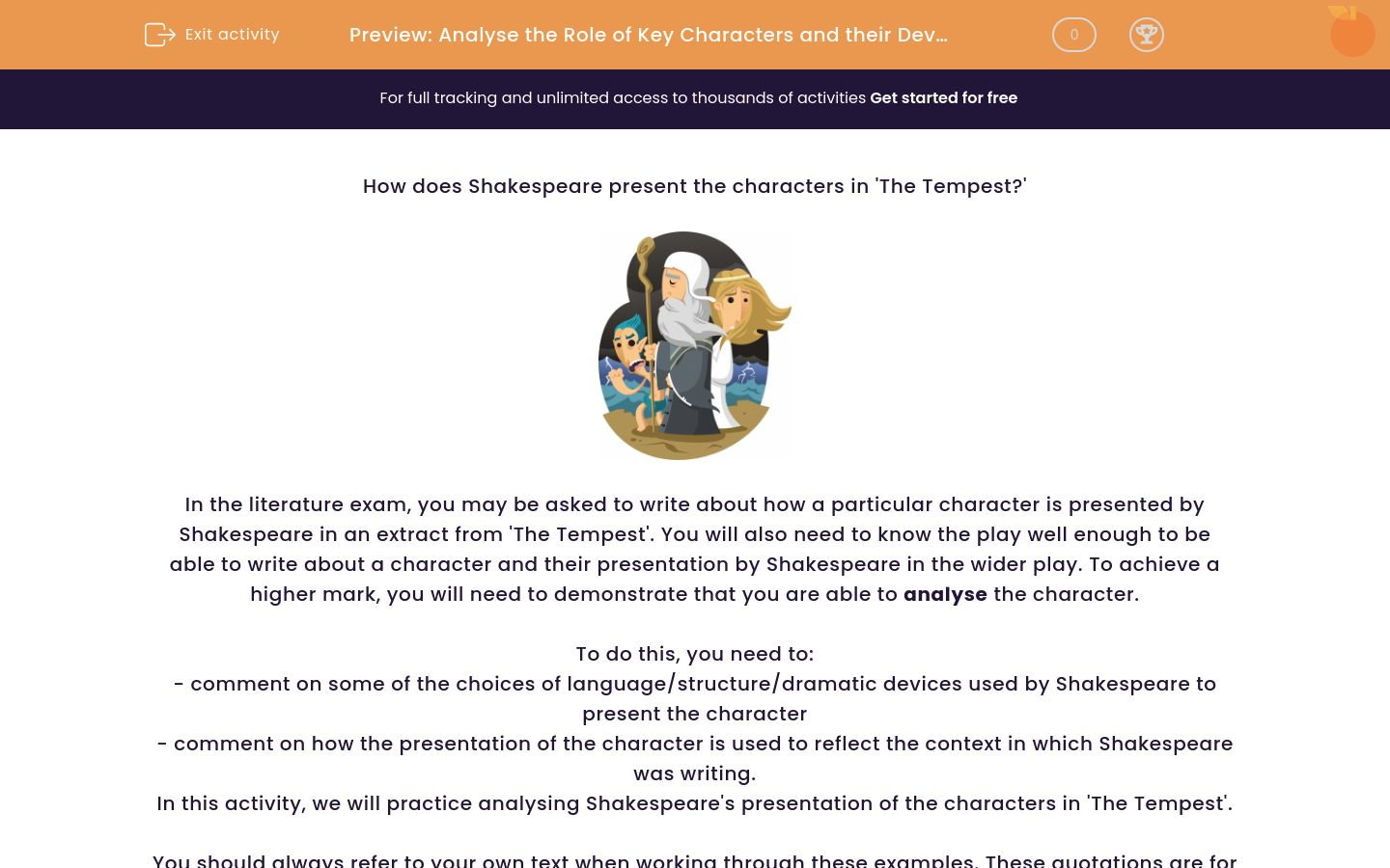 'Analyse the Role of Key Characters and their Development in 'The Tempest'' worksheet
