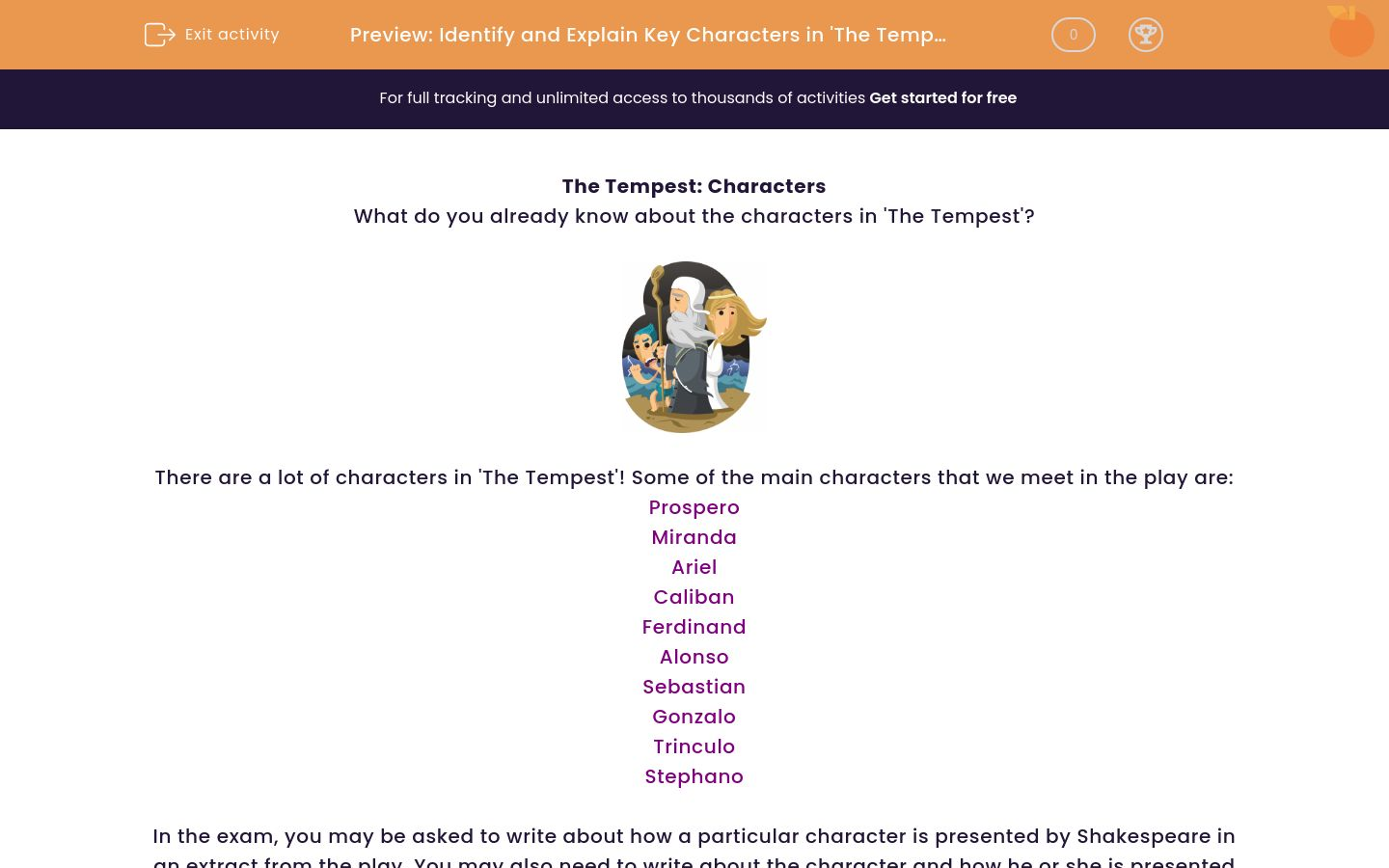 'Identify and Explain Key Characters in 'The Tempest'' worksheet