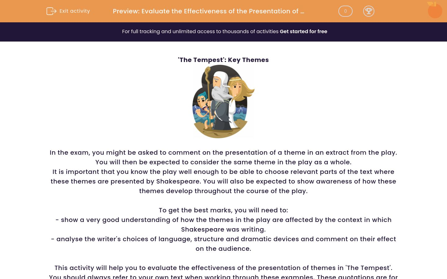 'Evaluate the Effectiveness of the Presentation of Themes in 'The Tempest'' worksheet