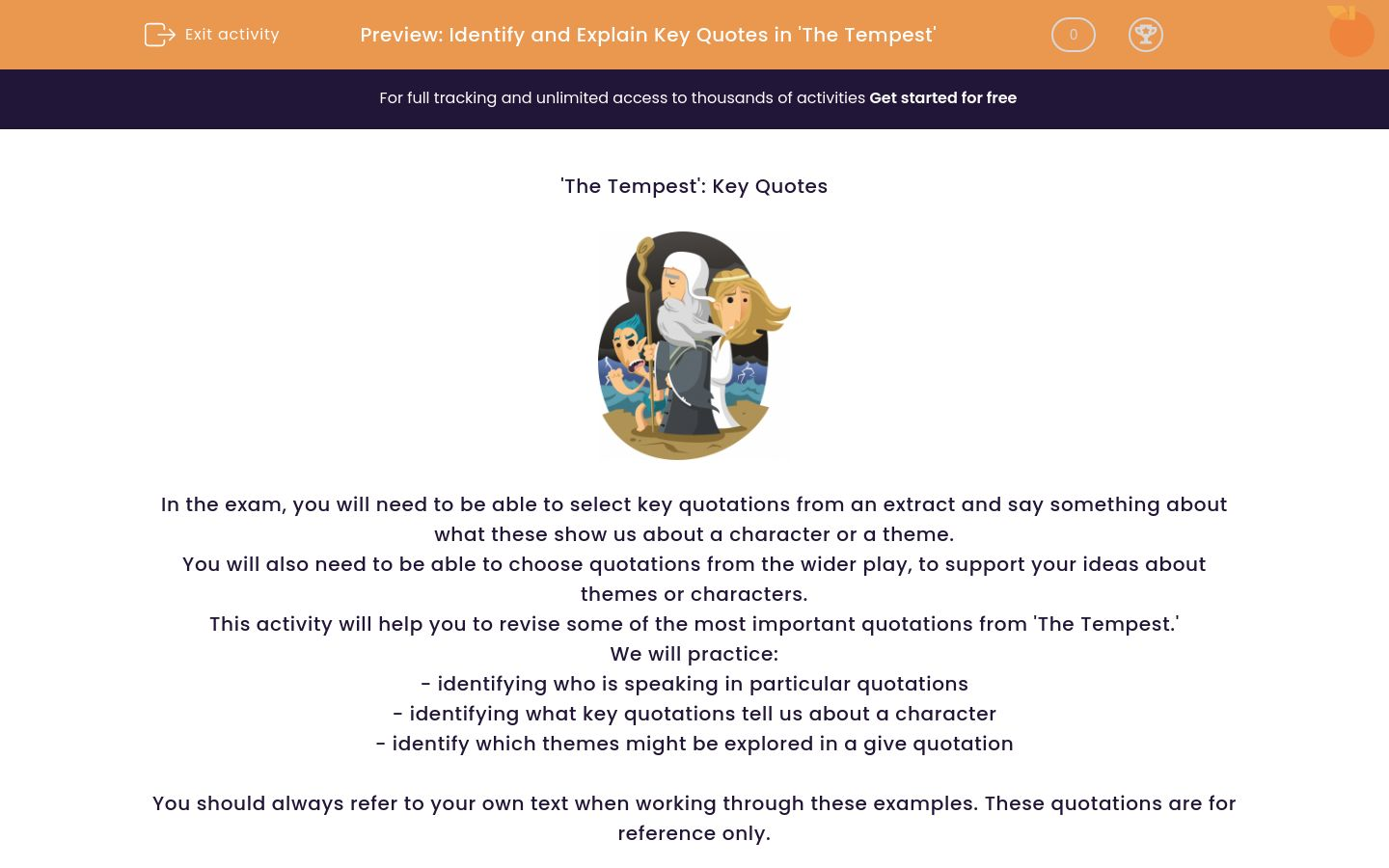 'Identify and Explain Key Quotations in 'The Tempest'' worksheet