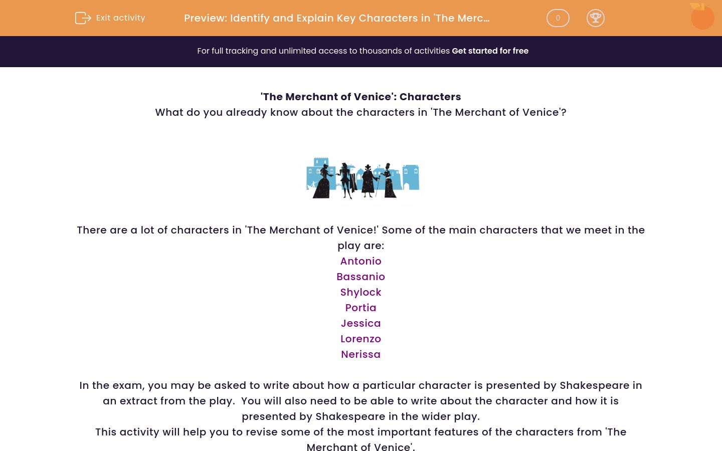 'Identify and Explain Key Characters in 'The Merchant of Venice'' worksheet