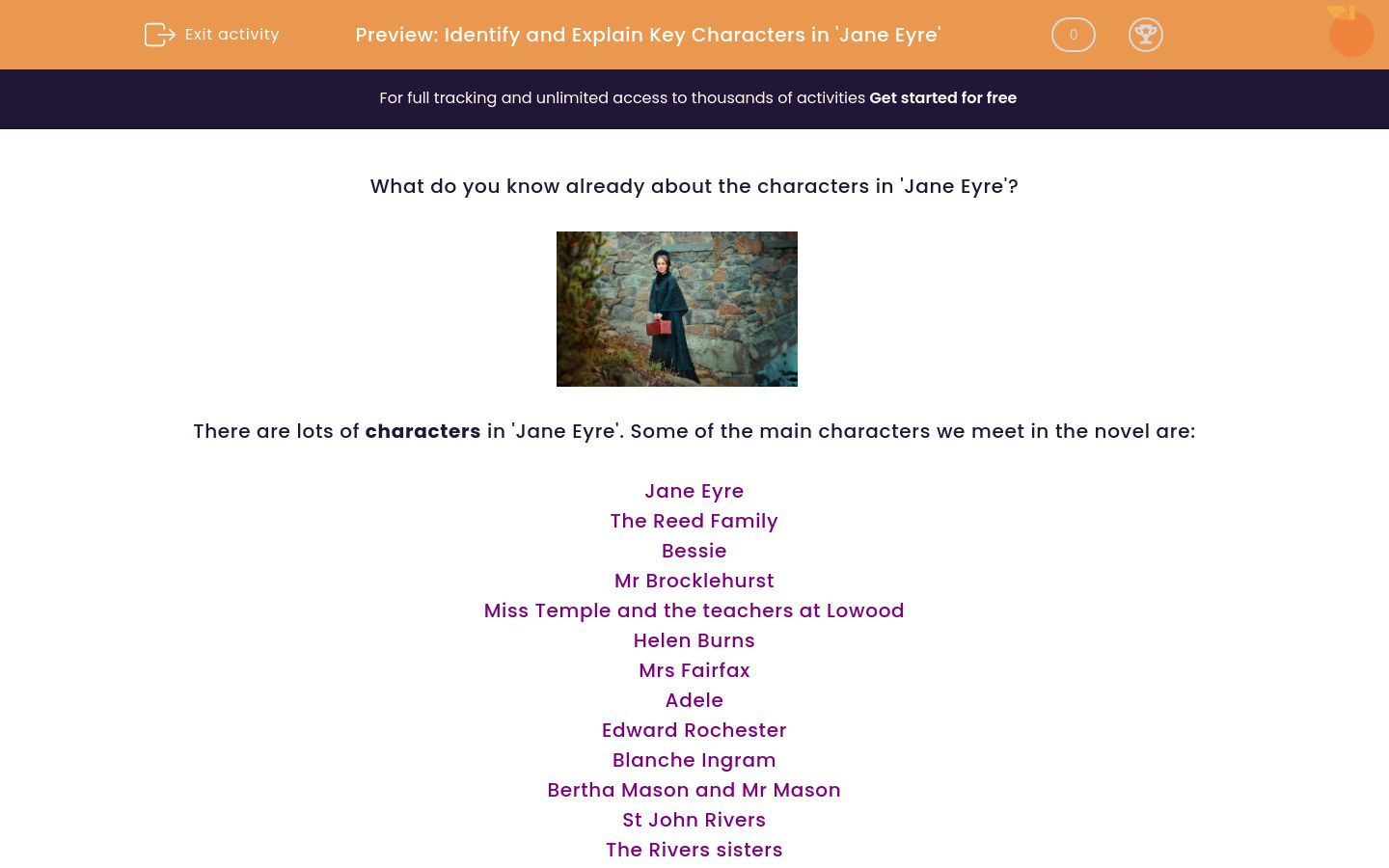 'Identify and Explain Key Characters in 'Jane Eyre'' worksheet