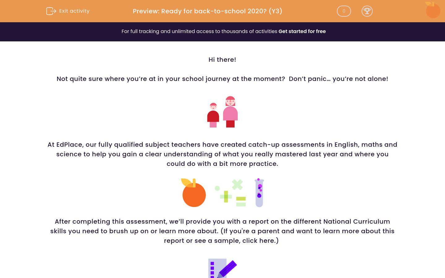 'Assessment: Ready for back-to-school 2020? (Y3)' worksheet