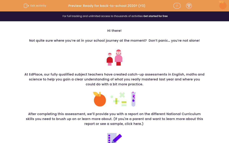 'Assessment: Back-to-school (Y3)' worksheet