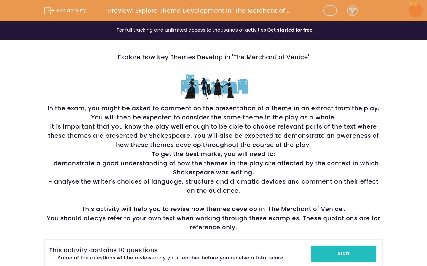 'Explore Theme Development in 'The Merchant of Venice'' worksheet