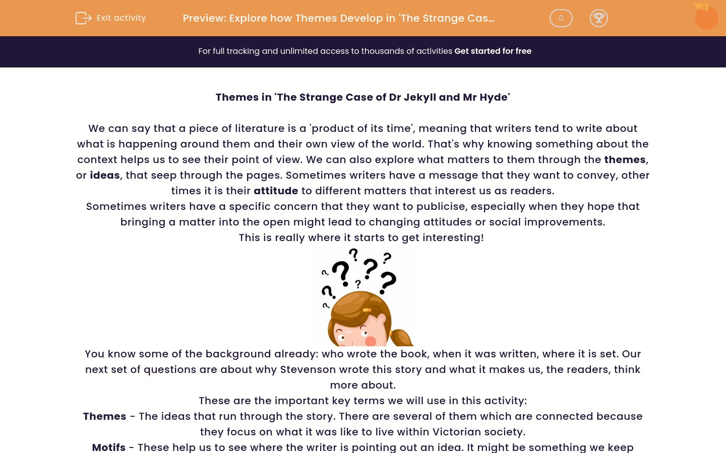 'Explore how Themes Develop in 'The Strange Case of Dr Jekyll and Mr Hyde'' worksheet