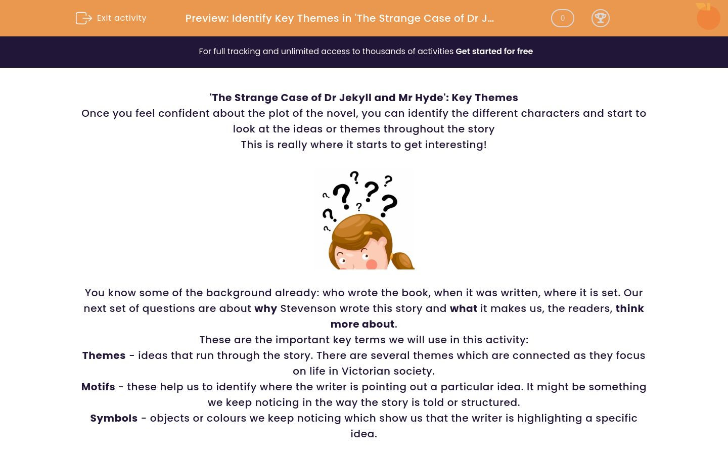 'Identify Key Themes in 'The Strange Case of Dr Jekyll and Mr Hyde'' worksheet