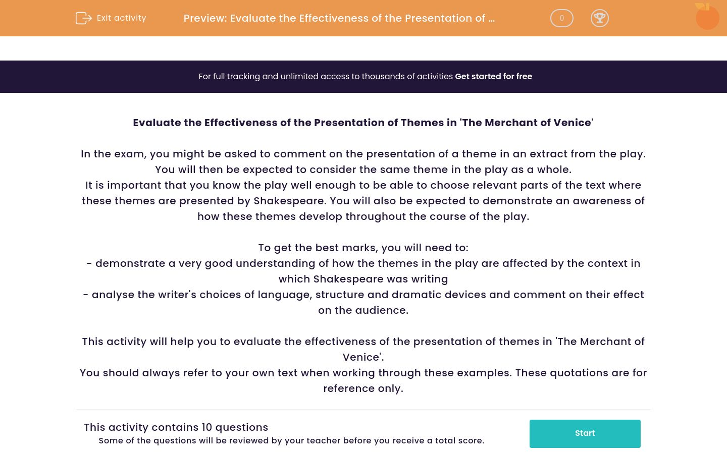 'Evaluate the Effectiveness of the Presentation of Themes in 'The Merchant of Venice'' worksheet