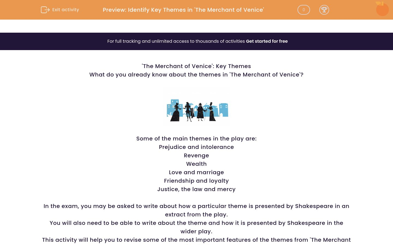 'Identify Key Themes in 'The Merchant of Venice'' worksheet