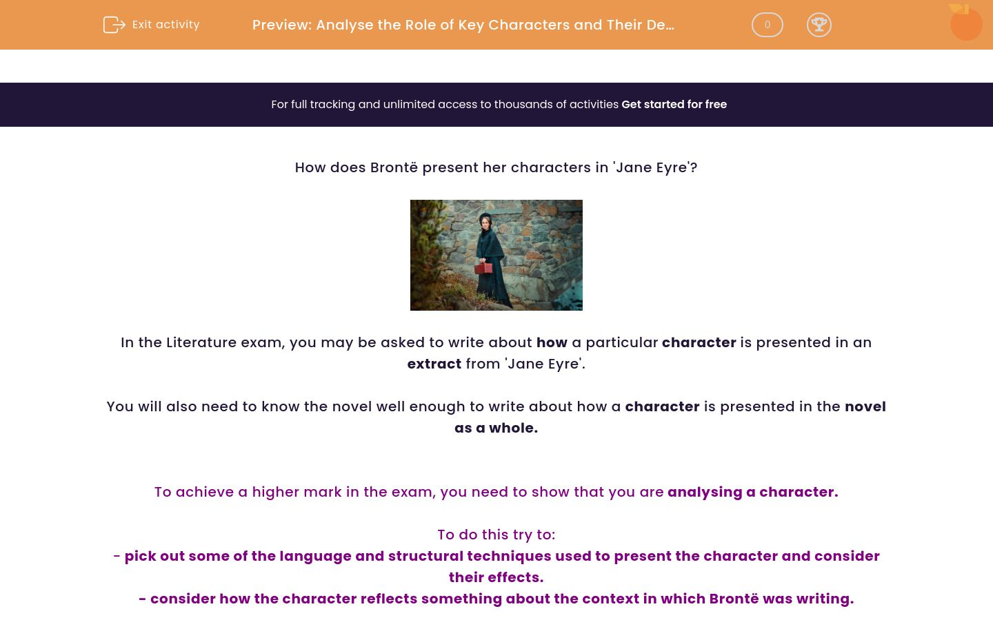 'Analyse the Role of Key Characters and Their Development in 'Jane Eyre'' worksheet