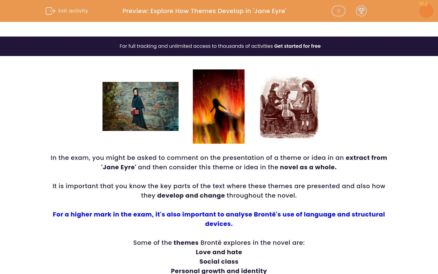 'Explore How Themes Develop in 'Jane Eyre'' worksheet