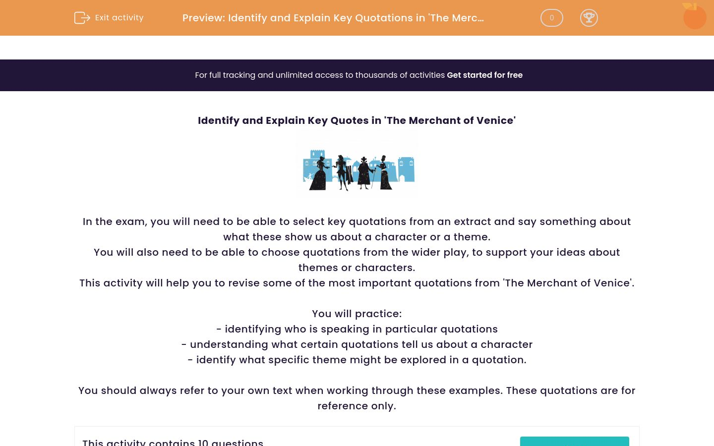 'Identify and Explain Key Quotations in 'The Merchant of Venice'' worksheet