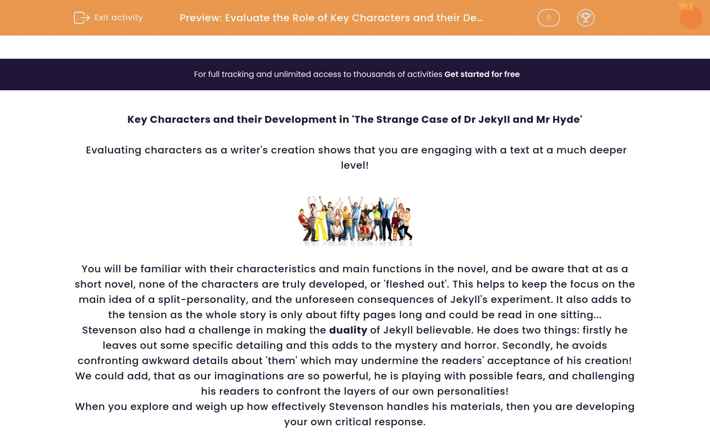 'Evaluate the Role of Key Characters and their Development in 'The Strange Case of Dr Jekyll and Mr Hyde'' worksheet