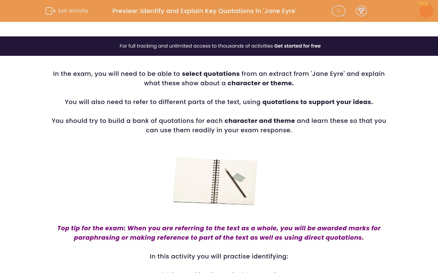 'Identify and Explain Key Quotations in 'Jane Eyre'' worksheet